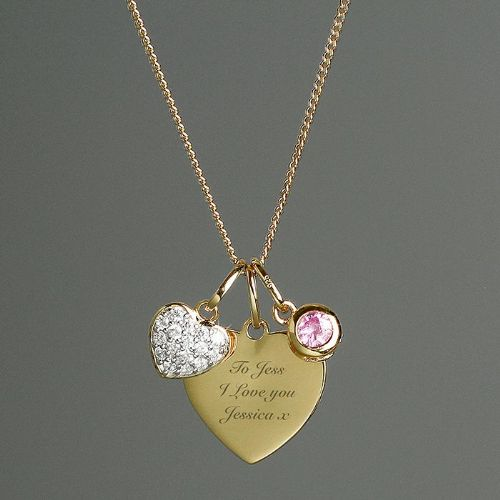 Personalised Sterling Silver & 9ct Gold Heart Message Necklace